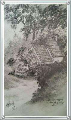 """Dessin mine graphite """"hameau de gruchy lieu gréville  hague ( 50 )"""
