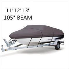 Boat WaterProof 210D Grey Boat Mooring Cover 11 12 13 FT Beam 105 inch Trailerable Fish-Ski V-Hull Storage Bag #Affiliate
