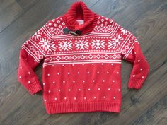 04c3118839f HANNA ANDERSSON BOYS RED WHITE FAIR ISLE NORDIC SWEATER ~VERY WARM~EUC~SIZE  110  HannaAndersson  Pullover