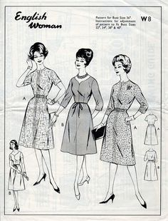 1960s Day Dress Pattern With A Line Skirt by BessieAndMaive