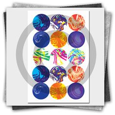 Free Abstract Printable Bottle Cap Image Collage Sheet