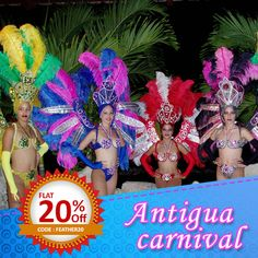 Rejoice beauty & grandeur the #AntiguaCarnival 2017 way! Stunning #feathers of myriad styles from Schuman Feathers Use code FEATHER20 for 20% #discount. #carnival #costumes #antiguadesigner