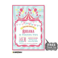 Circus Birthday Invitation. Girls Carnival Party by 800Canvas