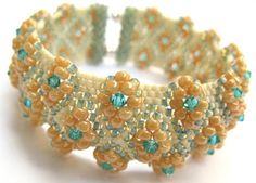 Beaded Bracelet PATTERN embellished flat peyote click on Giselea just above picture for link to pattern