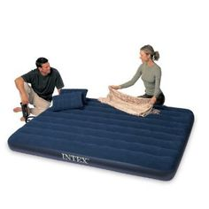 e0739fb5486 Intex Classic Downy Queen Airbed with 2 Pillows and Double Quick Hand Pump  Blow Up Beds