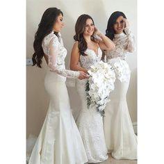 Mermaid High Neck Long Sleeves Lace Top Sweep Train Ivory Long Bridesmaid  Dress BD0507. Bridesmaid Dresses 2018Wedding BridesmaidsProm ... 9f4f17d3ad7c
