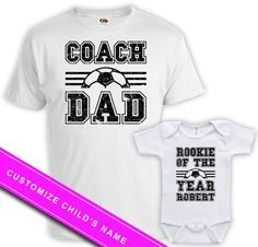 fa8651e118e Father Son Matching Shirts Father Daughter Gifts Daddy And Baby Gift Family  Shirts Soccer Coach Dad Rookie Of The Year Bodysuit FAT-60-61