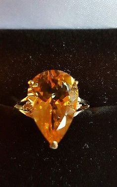 ❤ JAYNES GEMS  STYLISH 5CT YELLOW CITRINE & DIAMOND 9CT SOLID Y GOLD RING SIZE N