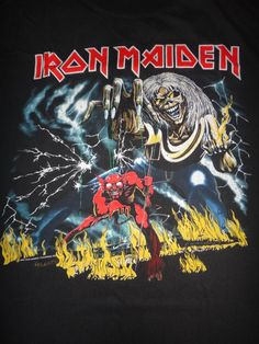 5e1ed96e Vintage Iron Maiden The Number Of The Beast 1982 T Shirt Original Heavy  Metal Promo Tee Used Bruce Dickinson Steve Harris Clive Burr