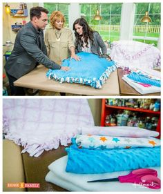 Sewing Weighted Blanket No sewing needed for this one! Just two pieces of fleece and some knots will get you the perfect baby blanket! Created by on Home and Family. Diy Baby Blankets No Sew, How To Sew Baby Blanket, Fleece Tie Blankets, No Sew Fleece Blanket, Easy Baby Blanket, Weighted Blanket, Home And Family Crafts, Home And Family Tv, Fleece Projects