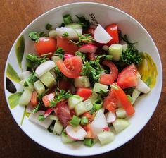 Crunchy Radish Salad With Tomatoes, Cucumbers & Parsley - click for recipe!