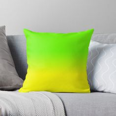 'Neon Green and Neon Yellow Ombré Shade Color Fade ' Throw Pillow by podartist Cheap Throw Pillows, Orange Throw Pillows, Designer Throw Pillows, Yellow Cloud, Neon Yellow, Orange Yellow, Silver Room, Pillow Crafts, Orange Ombre