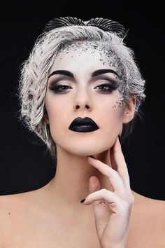 Black lips, stunning makeup