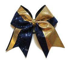 CHEER BOWNavy sequins and gold dots by LeBow1cheerbows on Etsy, $12.00