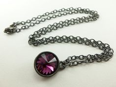 Dark Amethyst Jewelry Purple Necklace Crystal Rivoli by Jalycme