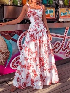 Sleeveless Print Square Neck Sweet Standard-Waist Dress – streetfancys Day Dresses, Casual Dresses, Long Dresses, Dresses Online, Robes Midi, Plain Dress, Floral Print Maxi Dress, Fashion Prints, Strapless Dress Formal