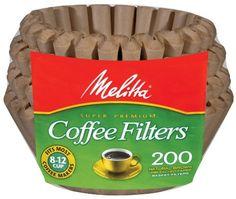 コーヒーフィルター Melitta メリタ 輸入コーヒーフィルター  8から12カップ用 バスケットタイプ ブラウン 200枚 Basket Coffee Filters Natural Brown (8 to 12-Cup) 200-Count Filters