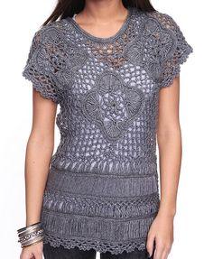 Outstanding Crochet: Crochet gray top. Unknown brand.