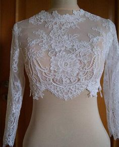 Real Image Appliques 2015 Long Sleeves Lace Bridal Jackets Tulle White Ivory Custom Made Wedding Shrug Wrap Bolero Real Image On Sale From Dreamdresswedding, $12.57 | Dhgate.Com