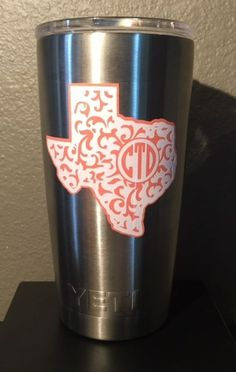 Texas State Paisley Custom Monogram Decal for Yeti Rambler Tumbler Coldster | eBay