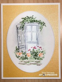 Tricia Kennedy ( created this stunning scene with our new WC Window Set, perfectly placed with our WC Cobblestones Set below! Find all her products and tips on our Watercolor Wonders challenge post. Watercolor Sketch, Watercolor Cards, Watercolor Flowers, Watercolor Paintings, Watercolors, Art Impressions Stamps, Flower Cards, Art Lessons, Painting & Drawing