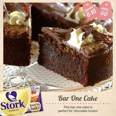Need a divine cake recipe? Try this Bar-One cake recipe for a delicious baked treat today. Stork – Love to Bake. Dessert Cake Recipes, Brownie Recipes, Dessert Ideas, Food Cakes, Cupcake Cakes, Cupcakes, Baking Cakes, Stork Recipes, African Dessert