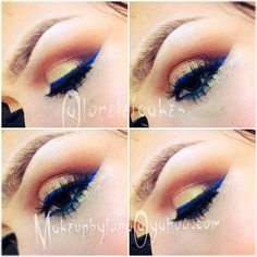Stunning blue liner with yellow & orange smoky eye. @Lorelei Altoehl Cakes