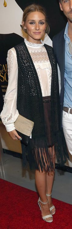 Who made Olivia Palermo's white lace top and black clutch handbag?