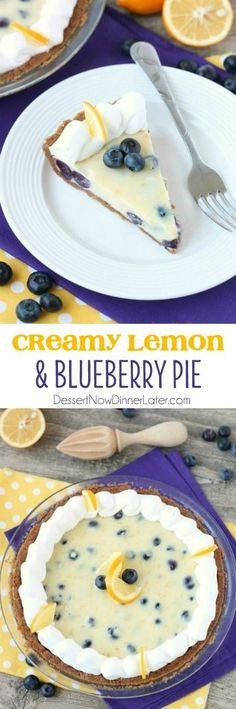 Creamy Lemon and Blueberry Pie Dessert Recipe via Dessert Now, Dinner Later - Just like key lime pie, this creamy lemon and blueberry pie has a buttery graham cracker crust and a zesty (Meyer lemon) citrus cream filling, with the added bonus of plump blueberries. Top it with fresh whipped cream and you've got a delicious fruity dessert! - Favorite EASY Pies Recipes - Brunch Dessert No-Bake + Bake Musts