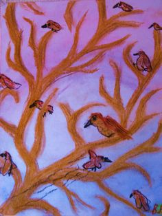 Birds in a tree pastel made by fourth grader