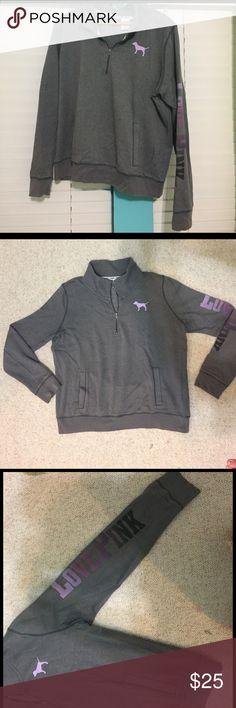 PINK VICTORIA SECRET quarter zip Grey quarter zip with purple faded to black writing down the sleeve // Victoria secret slouchy pink pull over PINK Victoria's Secret Tops Sweatshirts & Hoodies