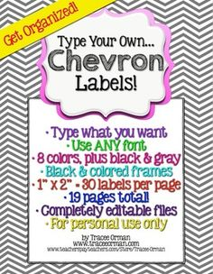 Chevron Labels You Can Customize & Edit {1x2 Avery 5160} Get organized!