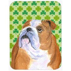 Caroline's Treasures Shamrock Lucky Irish English Bulldog St. Patrick's Day Portrait Glass Cutting Board