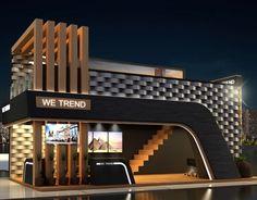 restaurant fachada Schlumberger 80 years event on Behance Kiosk Design, Facade Design, Retail Design, House Design, Exhibition Stall Design, Showroom Design, Exhibition Ideas, Restaurant Exterior Design, Modern Restaurant