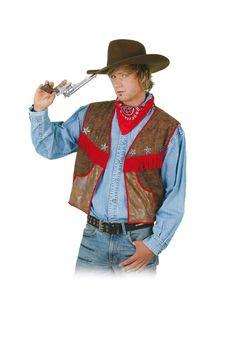 Klassische Cowboyweste aus braunem Lederimitat mit kleinen Sheriff Sternen und roten Fransen verziert.  Super geeignet als Zubehör für jegliche Faschingsveranstaltungen.