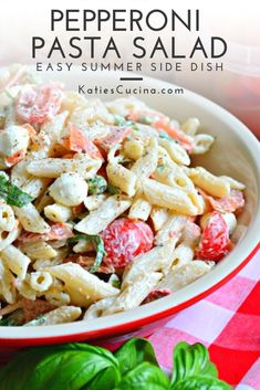 Creamy Pepperoni Pasta Salad made with 6 ingredients and in under 30 minutes it's perfect to serve as a side at your next barbecue or pot luck. Children and adults will love this fun twist on the traditional pasta salad recipe. #pastasalad #pepperoni Summer Side Dishes, Best Side Dishes, Side Dish Recipes, Best Salad Recipes, Pasta Recipes, Dinner Recipes, Pepperoni Pasta Salads, Kitchen Recipes, Cooking Recipes