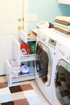 Five ideas to organize your laundry room | Skip To My Lou - i like where you can hide and put away your laundry soap ~Dahni