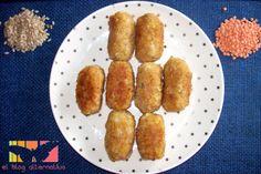 Croquetas de arroz y lentejas rojas