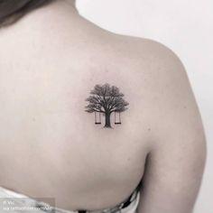 Two swings. Mom Tattoos, Small Tattoos, Tattoos For Women, Tatoos, Swing Tattoo, Back Tattoo, I Tattoo, Piercings, Explore Tattoo