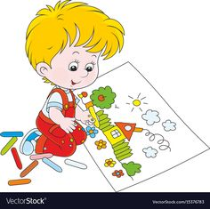 Child drawing vector image on VectorStock Class Decoration, School Decorations, Little Boy Drawing, Drawing Pictures For Kids, Action Words, Cute Disney Wallpaper, Social Media Logos, Kindergarten Activities, Poster Making