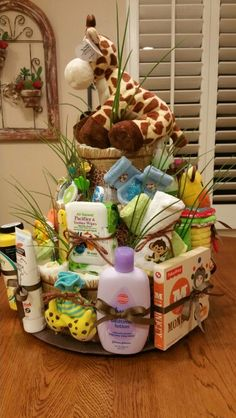 Jungle theme diaper cake
