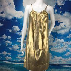 Diane Von Furstenberg Silk Cocktail Dress Gold Lame Shift Elicia size 0    eBay