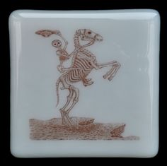 Fused Glass Coaster - Dia De Muertos 12 – Day Of The Dead – £7 each or £24 for a set of 4. Original drawings by Jiewsurreal (stock photos). All coasters measure approximately 10 x 10cm, with clear rubber bumpers on the base to keep them in place and protect your furniture. www.glassbygenea.co.uk #glassbygenea #fusedglass