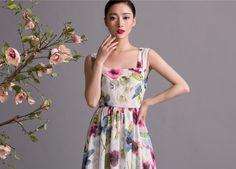 White Pink Purple Green Floral Print Aline Maxi by ChineseHut