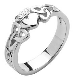 Silver Claddagh Heart with Trinity Knot Shank