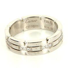 Estate Designer Cartier 18 Karat White Gold Diamond Tank Francaise Ring Band $3395