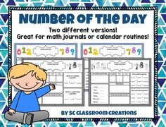 Number of the day pages in color and black and white! Please enjoy this free product! It includes two different versions of my Number of the Day activity for different grade levels or differentiation. I've included examples for each version, so you can see how each activity is completed.