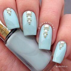 Azure nails, Beautiful nails 2016, Caviar nails, Celestial blue nails, Fashion nails 2016, Long nails, Nails wih pearls, Nails with beads