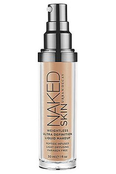 Cream or liquid foundations give a somewhat more made-up look to the skin, though they still look natural when applied properly. I tend to use them for evening makeup, when I want the face to have a more finished or polished look. Urban Decay Naked Skin Weightless Ultra Definition Liquid Makeup, $38. Sephora.com