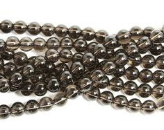 Smoky quartz round beads (8mm)
